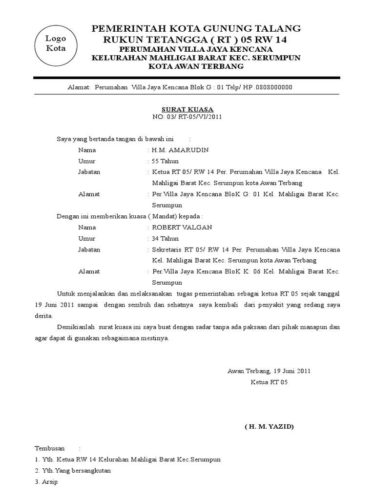 Contoh Surat Mandat Dari Rt Kepada Sekretaris