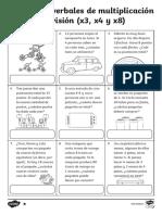 Problemas Verbales de Multiplicacion y Division Fichas de Actividad