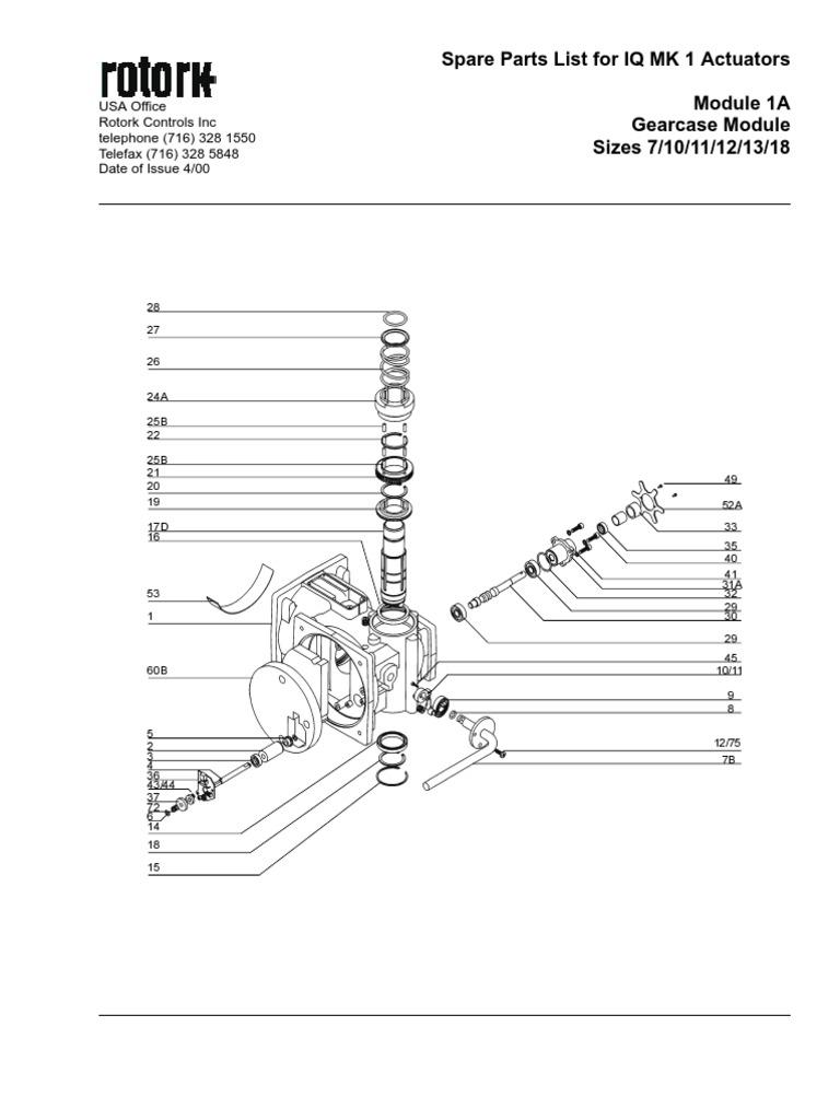 Rotork IQ MK 1 Range Parts Catalogue pdf | Gear | Clutch