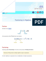 Factoring in aljebra