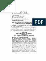 """Ley N° 28950. """"Contra la Trata de Personas y el Tráfico Ilícito de Migrantes"""""""