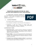 company Alcohol-free Workplace Policy & Program
