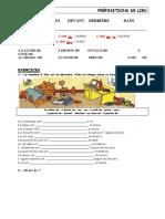 Les Prepositions de Lieu 2 Exercice Grammatical 20148
