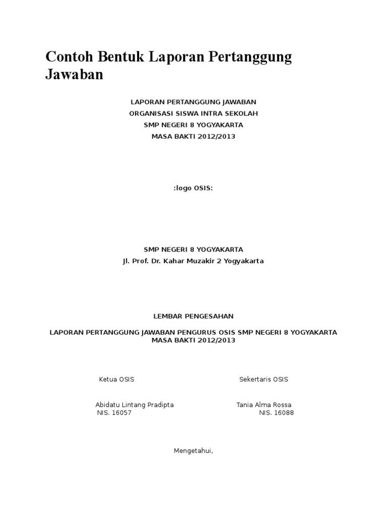 Contoh Bentuk Laporan Pertanggung Jawaban Ketua Osis Sekertaris Osis