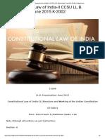Constitutional Law of India-II CCSU LL.B. Examination, June 2015 K-2002 _ Infipark.com