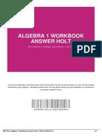 Algebra 1 Workbook Answer Holt