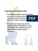 Inspection and Testing Personnel
