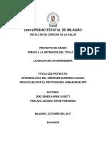 Epidemiologia Del Síndrome Diarreico Agudo Provocado Por El Protozoario Urbanorum Spp Diaz y Perlaza