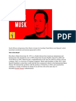 South African Entrepreneur Elon Musk is Known for Founding Tesla Motors and SpaceX