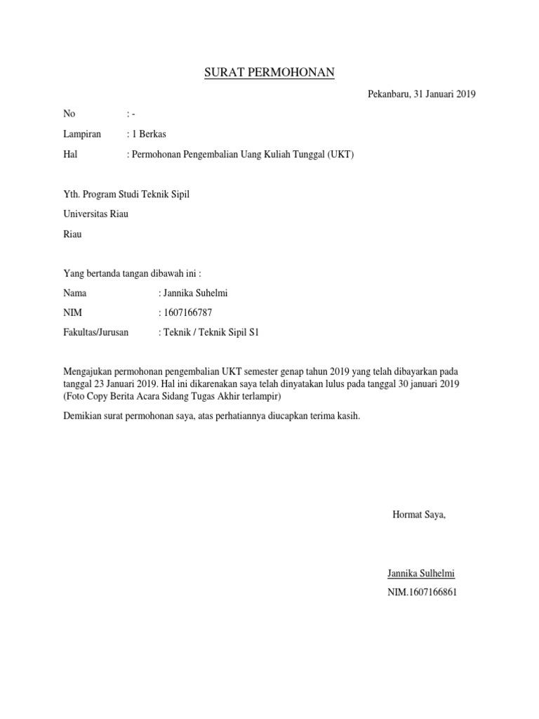 Surat Permohonan Pengembalian Ukt Ika
