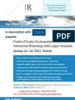 Public-Private Partnership Advanced Modeling with Legal Analysis - Toronto
