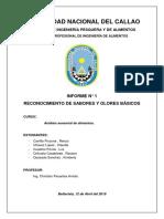 Informe 1 de Sensorial - Reconocimiento de Sabores y Olores