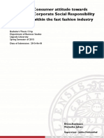 Consumer Attitude Towards CSR Within the Fast Fashion Industry