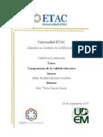 Tarea semana 2 Maestría Etac Componentes de la calidad educativa
