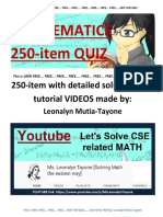 FREE 250 MATH Problems With Links for Tutorial VIDEOS