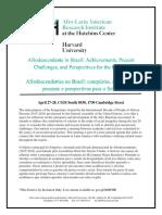 AFRODESCENDENTES NO BRASIL_programação do evento em Havard