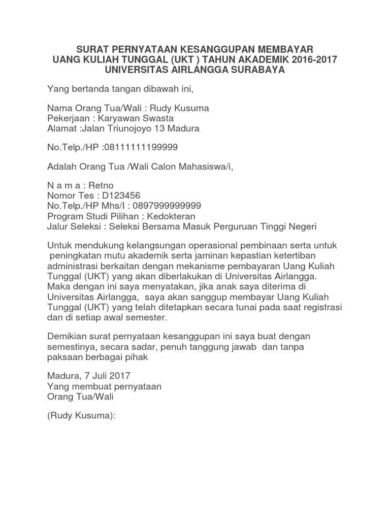 Surat Pernyataan Kesanggupan Pembayaran Ukt Unair