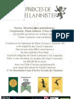 Livret du procès de Cersei Lannister à Strasbourg