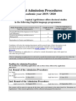 Admission Procedure 2019 2020