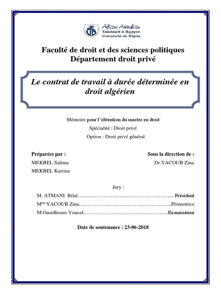 Le Contrat De Travail A Duree Determinee En Droit Algerien Pdf Loi Temps De Travail