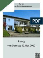 Gemeinderatssitzung v. 02.11.2010