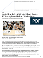 Apple Held Talks With Intel About Buying Its Smartphone-Modem Chip Business