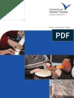University of Western Sydney - Master Creative Music Brochure August 2006