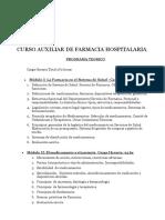 Curso de Auxiliar de Farmacia Hospitalaria Programa Teorico