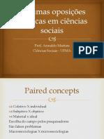 Algumas oposições clássicas em ciências sociais