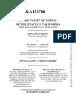 Monsanto's Opening Appeal Brief in Dewayne Johnson case re glyphosate
