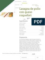 Lasagna de Pollo Con Queso Roquefort