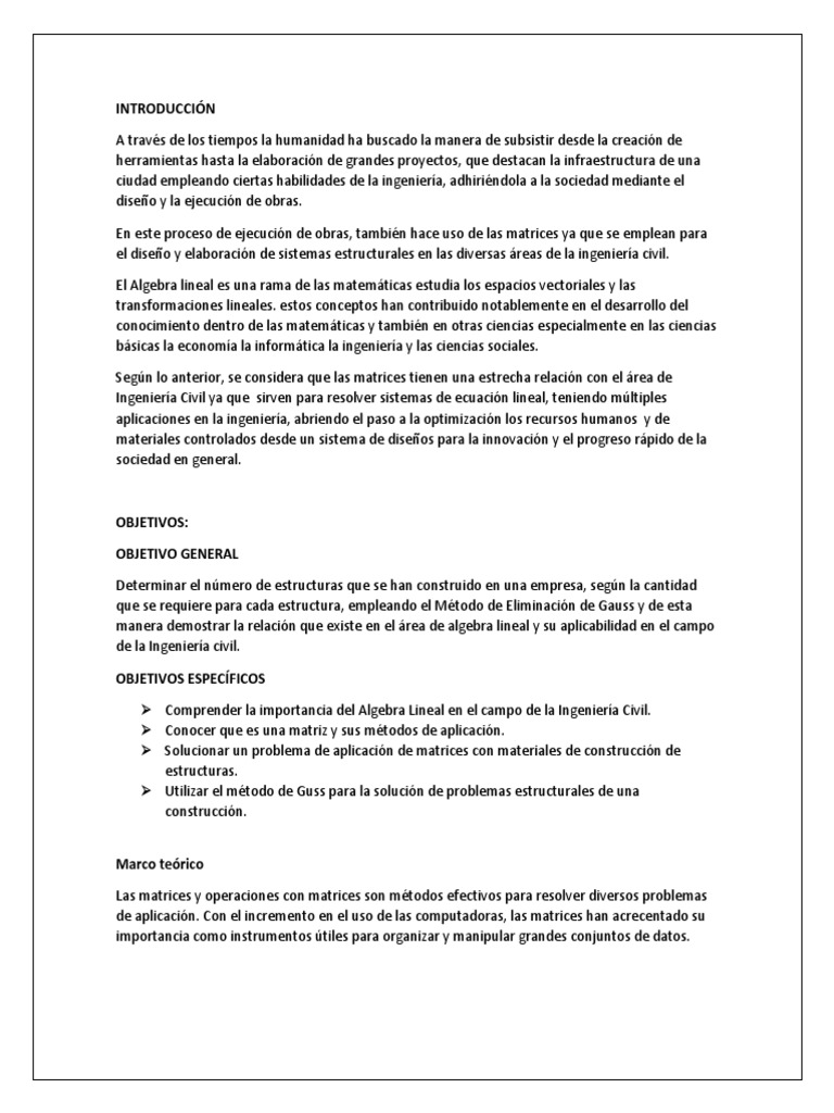 Algebra Lineal Anteproyevto 1 Matriz Matemáticas