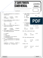Examen Mensual 3ro Sec Fisica