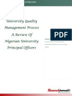 University Quality Management Process A Review Of Nigerian University Principal Officers