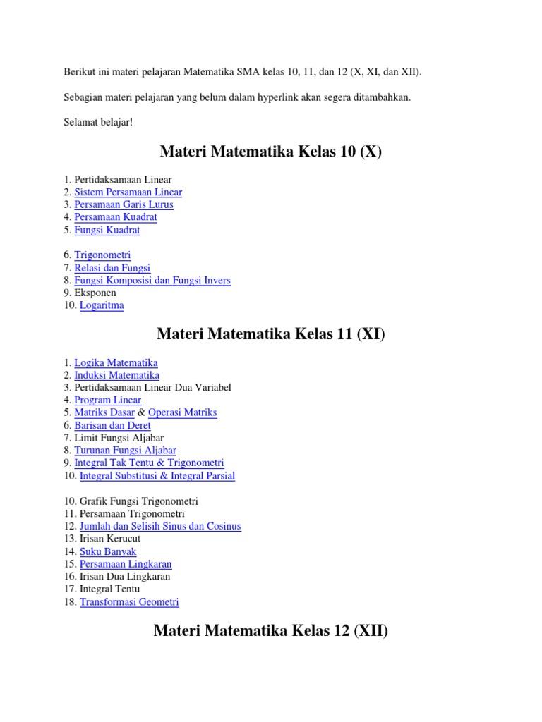 Materi Matematika Kelas 10 Guru Ilmu Sosial