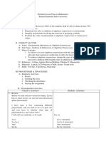 Detailed Lesson Plan in Mathematics (Algebra)