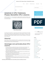 Advances in HPLC Stationary Phases in Monolithic HPLC Columns