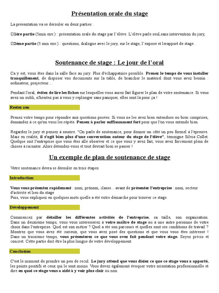 Presentation Orale Du Stage Doc