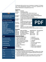 One Page CV