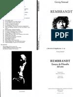 SIMMEL, Georg. Rembrandt - Ensayo Del Filosofía Del Arte
