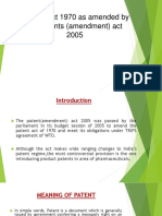 Patents Act 1970 as Amended by the Patents