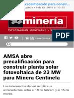 20190213-AMSA Abre Precalificación Para Construir Planta Solar Fotovoltaica de 23 MW Para Minera Centinela