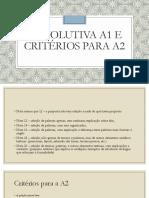 Devolutiva A1 e Critérios A2