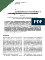 Antibacterial Properties of Some Metals Coliforms in Contaminated Water