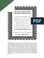 Millionaires Mind Course Certificate