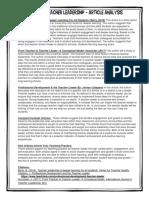 issues on teacher leadership