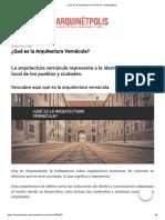 ¿Qué Es La Arquitectura Vernácula_ _ Arquinétpolis