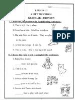CBSE Class 1 English Assignments (8) - Grammer Pronoun