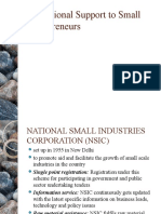 Institutional Support to Small Entrepreneurs
