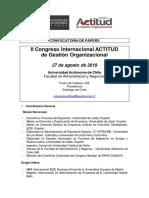Convocatoria Papers - II Congreso Internacional ACTITUD de Gestión Organizacional 2019 - Univ. Autónoma de Chile  - 27 de Agosto